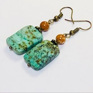 Textural African Turquoise & Jasper Earrings